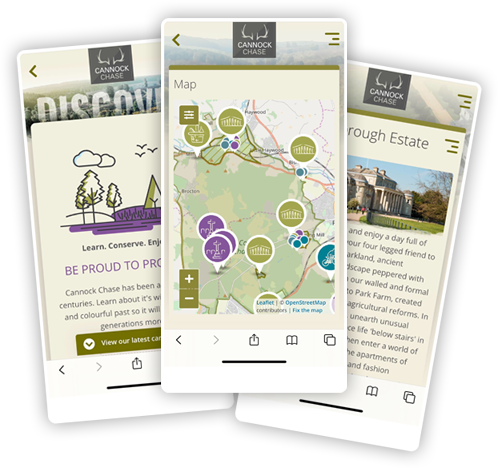 mobile screens showing Cannock Chase website
